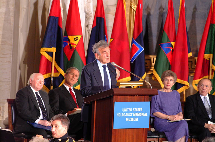 Elie Wiesel speaks at the Days of Remembrance ceremony, Washington, DC, 2001.