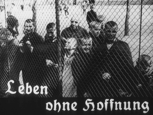 "This image originates from a film produced by the Reich Propaganda Ministry. It shows patients in an unidentified asylum. Their existence is described as ""life without hope."" The Nazis sought, through propaganda, to develop public sympathy for the Euthanasia Program."