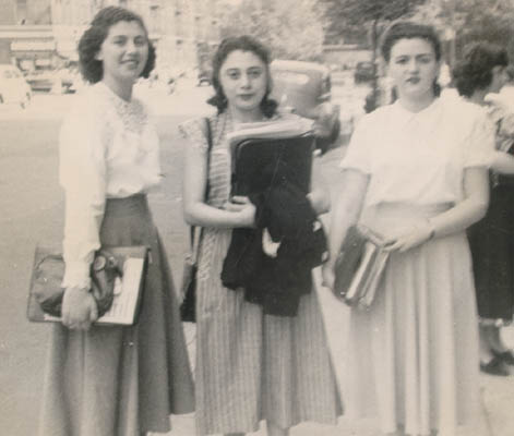 Regina (left) with two friends at Thomas Jefferson High School, Brooklyn, New York, 1948.