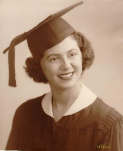 Regina upon graduation from Thomas Jefferson High School in Brooklyn, New York, February 3, 1949.