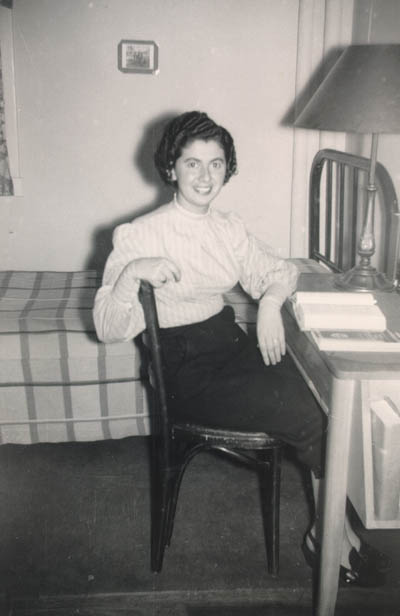 Regina in her college dormitory room at Indiana University. Bloomington, Indiana, 1952.