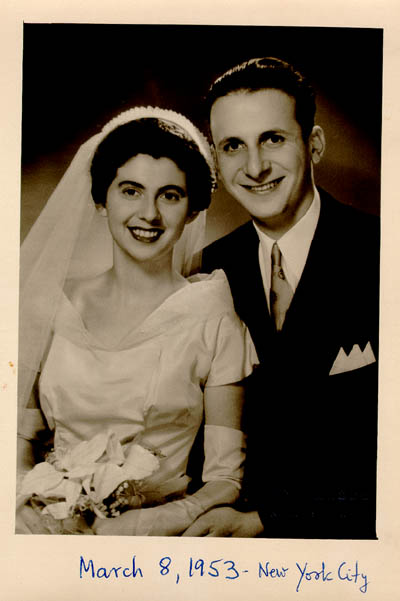 Wedding photo of Regina and Victor. New York City, March 8, 1953.