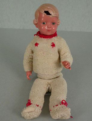 """In 1942, seven-year-old Inge Auerbacher was deported with her parents to the Theresienstadt ghetto.  She brought along this doll, named """"Marlene"""" after German actress Marlene Dietrich, which her grandmother had given her.  It would remain with Inge throughout her three years of imprisonment in the ghetto."""