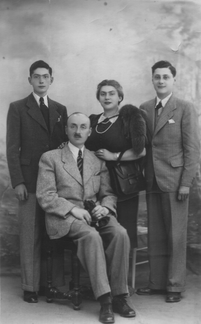Walter Marx (standing at left) with father Ludwig, mother Johanna, and cousin Werner. Walter was the only one to survive.