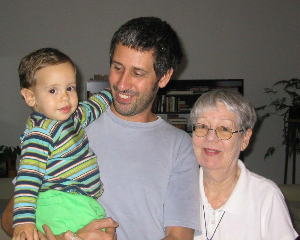 Mara Kraus (right) with grandson Kevin and great-grandson Rafael.