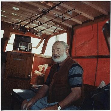 Ernest Hemingway aboard the boat Pilar, ca. 1950.