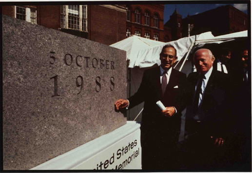 Benjamin Meed (right) and Harvey Meyerhoff stand next to the cornerstone for the United States Holocaust Memorial Museum. In October 1988, President Ronald Reagan spoke at a special ceremony held when the cornerstone of the Museum was laid, with construction beginning in July 1989 and ending in April 1993. Washington, DC, 1988.