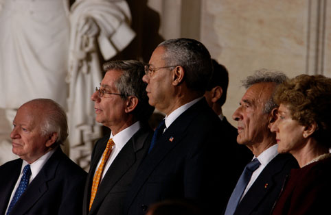 Benjamin Meed (left) with Fred S. Zeidman, Colin L. Powell, Elie Wiesel, and Ruth B. Mandel at the 2003 Days of Remembrance ceremony in the US Capitol Rotunda.