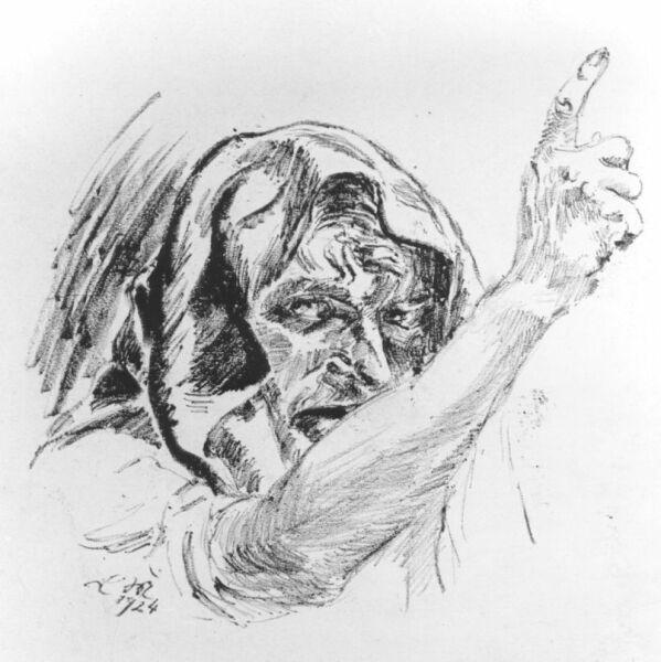 Ludwig Meidner, Head of a Man, 1924. Chalk, 74 x 57 cm