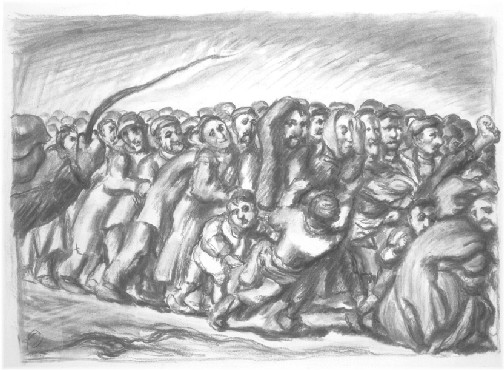 Ludwig Meidner, Crowd of People, not dated. Charcoal, 56.6 x 76.0 cm.