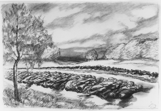 Ludwig Meidner, Corpses, not dated. Charcoal and watercolor, 55.5 x 75.8 cm.