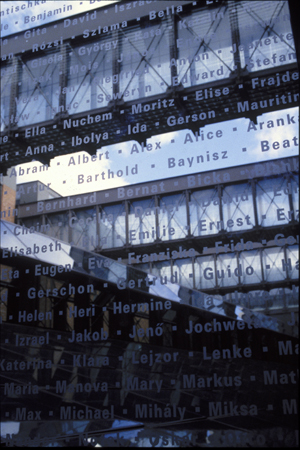 Detail of an interior bridge at the United States Holocaust Memorial Museum with the names of victims etched in glass. Washington, DC, 1996.