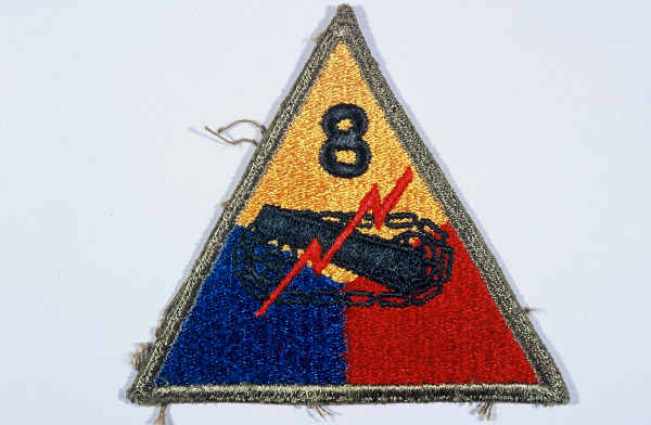 "Insignia of the 8th Armored Division. The nickname of the 8th Armored Division, the ""Thundering Herd,"" was coined before the division went to Europe in late 1944. It was also known as the ""Iron Snake"" late in the war, after a correspondent for Newsweek likened the 8th to a ""great ironclad snake"" as it crossed the Rhine River in late March 1945."