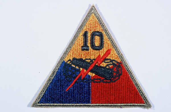 "Insignia of the 10th Armored Division. The ""Tiger Division"" nickname of the 10th originates from a division-wide contest held while it was training in the United States, symbolizing the division ""clawing and mauling"" its way through the enemy."