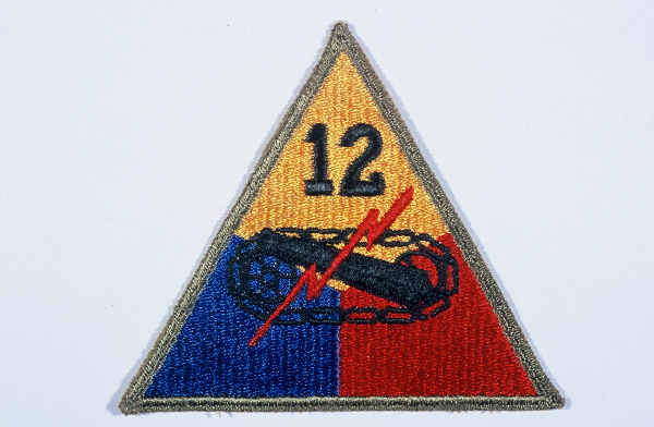 "Insignia of the 12th Armored Division. ""Hellcats, "" the winning entry in a division contest for a nickname held in early in 1943, symbolized the 12th's toughness and readiness for combat."
