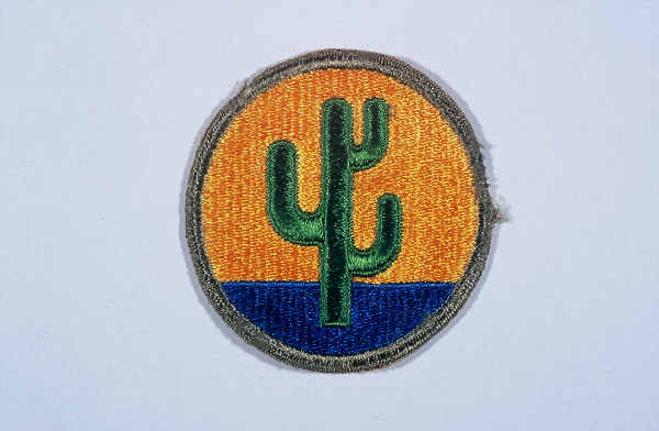 "Insignia of the 103rd Infantry Division. The 103rd Infantry Division, the ""Cactus"" division, is so called after the 103rd's shoulder patch, a cactus in a gold circle. The cactus is representative of the states whose troops formed the unit in the early 1920s: Arizona, Colorado, and New Mexico."