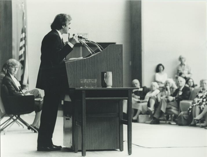 Elie Wiesel speaks at the Faith in Humankind conference, held before the opening of the USHMM, on September 18–19, 1984, in Washington, DC.