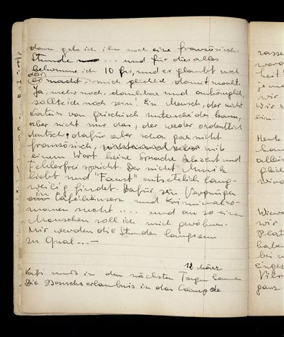 ル・シャンボン・シュール・リニョンでアンドレ・トロクメ牧師の家族と暮らしていたときに、エリザベス・カウフマンが書いた日記のページ。 ル・シャンボン・シュール・リニョン、フランス、1940年〜1941年。