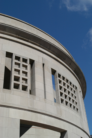 Detail of the 14th Street facade of the United States Holocaust Memorial Museum. Washington, DC, April 2003.