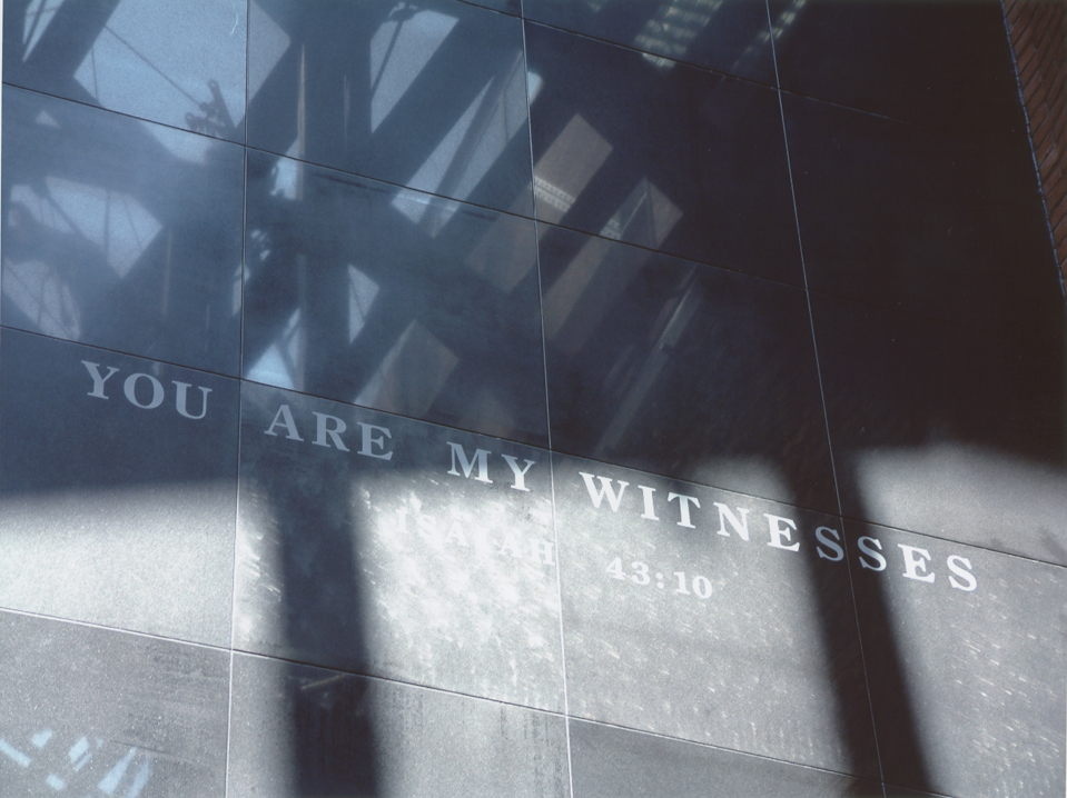 """The """"You Are My Witnesses"""" wall in the Hall of Witness at the United States Holocaust Memorial Museum. Washington, DC, January 2003."""