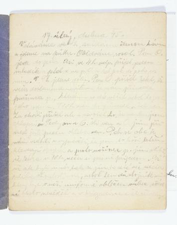 Otto Wolf (1927-1945) fue un adolescente judío checo que registró las vivencias de su familia cuando vivían ocultos en la Moravia rural durante la Segunda Guerra Mundial. Su diario fue publicado póstumamente. Esta imagen muestra el libro4 del diario de Otto Wolf. Esta es la primera anotación de Felicitas Garda (hermana de Otto Wolf), con fecha del 17 de abril de 1945. Felicitas continuó el diario de Otto, cuando él desapareció.