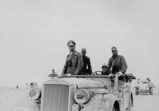 Lieutenant General (later Field Marshal) Erwin Rommel commanded German forces during the campaign in North Africa. Libya, 1941.