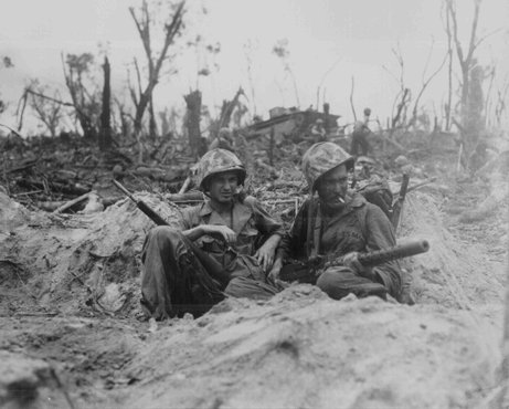 American marines during the final stage of the fight for Peleliu Island in the Pacific theater of war. September 14, 1944.
