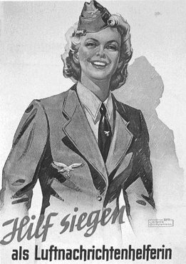 "A Nazi recruitment poster calling on German women to join the air defense. The German caption reads: ""Aid Victory by joining the air defense information service."" Germany, date uncertain."