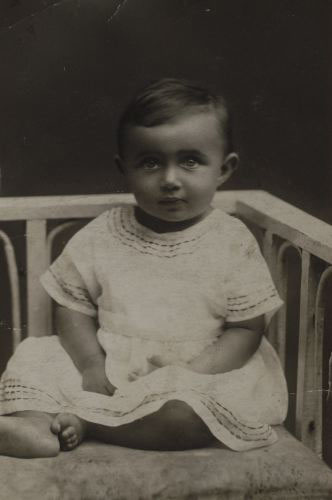 Blanka at about 1 year old, ca. 1923.  She received this photograph many years later, after she came to America, from her grandmother's half brother.