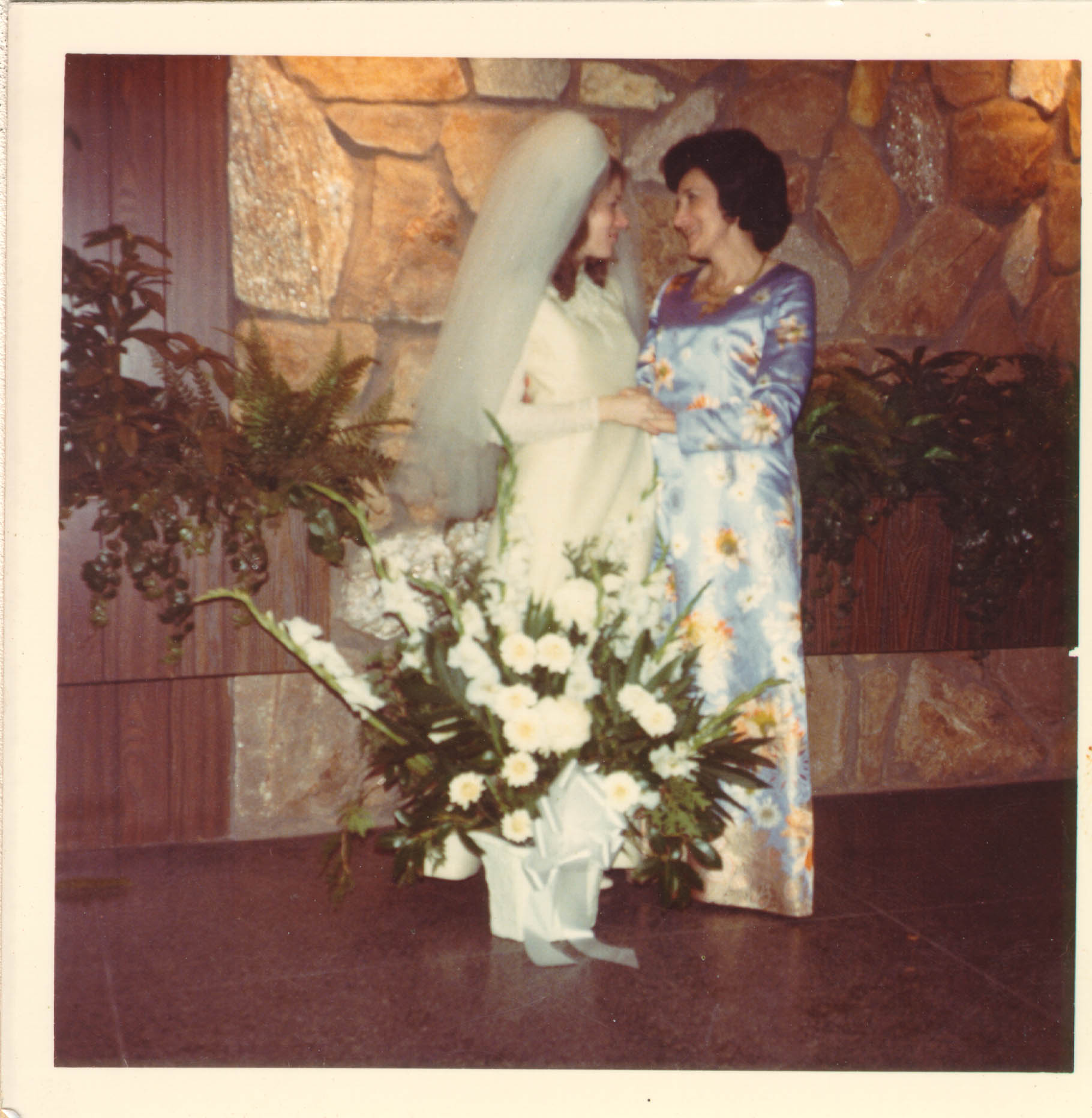 Blanka (right) with her daughter, Shelly, after Shelly's wedding. New York, 1974.