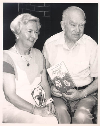 June 6, 1991, photograph showing Amalie and Norman with a copy of their book, Against All Odds.