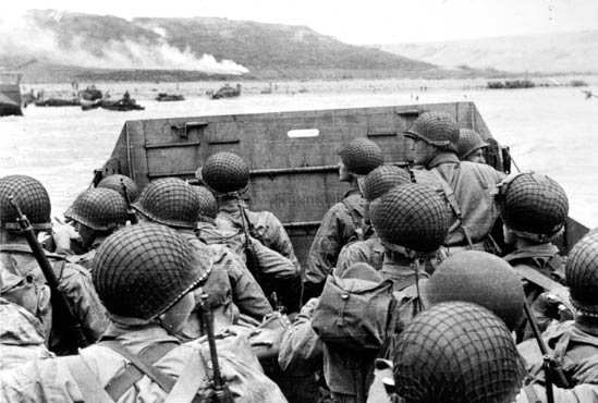 Assault troops approach Omaha Beach on D-Day, June 6, 1944.