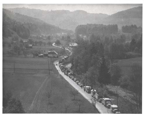 From an Army aircraft, 167th photographer J Malan Heslop captured the magnitude of the German surrenders in Austria. May 1945.