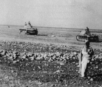 Panzer tanks of Erwin Rommel's Africa Corps during an advance against British armed forces. Libya, 1941-1942.