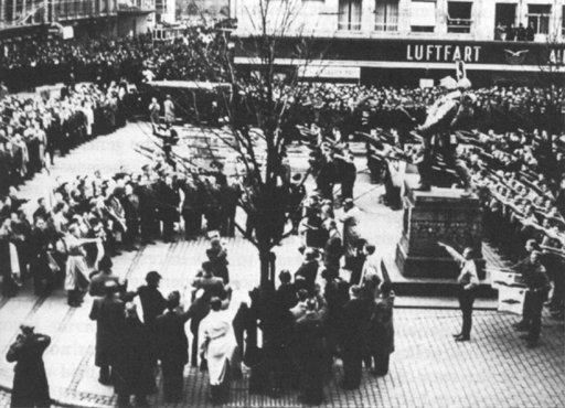 Danish fascists demonstrate their solidarity with the occupying Germany powers. The rally ended in street fighting. Copenhagen, Denmark, November 1940.