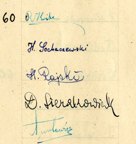 On September 23, 1941, on the occasion of the Jewish New Year (Rosh Hashanah), the Lodz ghetto schoolchildren presented Jewish Council chairman Rumkowski with an album of hand-drawn New Year's greetings from 43 of the schools. Included, too, were signatures representing some 14,000 of the students. The greetings combine traditional holiday wishes with thanks for the schools and for the daily meals.  This detail from a signature page shows the signature for David Sierakowiak.