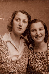 Picture taken of Agnes and her mother in the ghetto in 1944, used for obtaining false IDs as Christians. This is the last photograph of Agnes' mother. Budapest, Hungary, 1944.