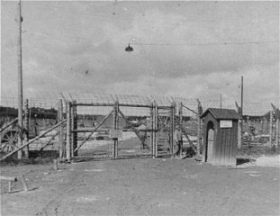 The entrance gate to Kaufering IV subcamp of Dachau...