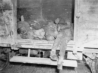 Corpses lie in one of the open railcars of the Dachau...