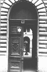 Entrance to the courtyard, marked with a Star of David...