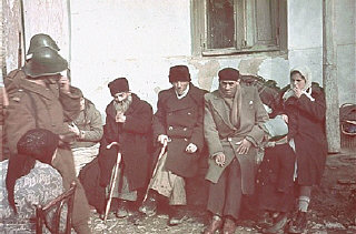 Jews of the Kishinev ghetto assembled for deportation...