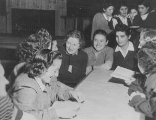 Jewish female survivors at a convalescent home.