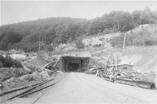 View of a tunnel entrance to the rocket factory at...