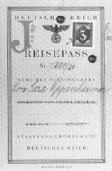 Passeport émis à Lore Oppenheimer, une Juive allemande...