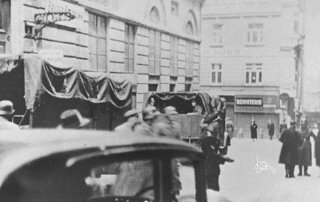 Scene during an SS raid on the Viennese Jewish community...