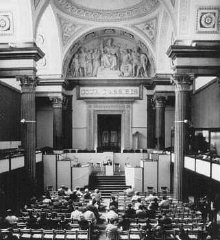 The courtroom where Klaus Barbie, former Gestapo (German...