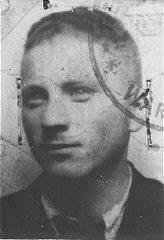 False identification card photo of Benjamin Miedzyrzecki...