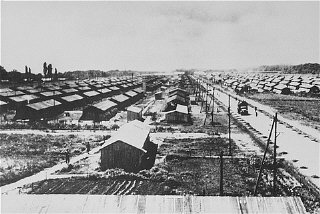 View of the Gurs camp as photographed from a water tower. Gurs, France, ca. 1941.