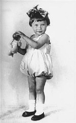 1936 portrait of two-year-old Mania Halef, a Jewish...