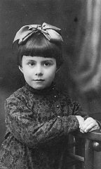 1935 portrait of three-year-old Anna Glinberg, a Jewish child, who was later killed during the mass execution at Babi Yar.
